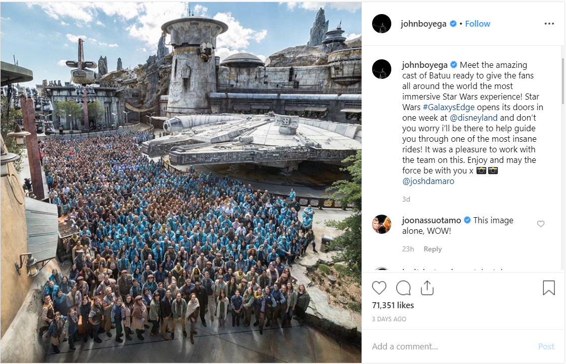 John Boyega Shares First Look At $1 Billion Star Wars Theme Park