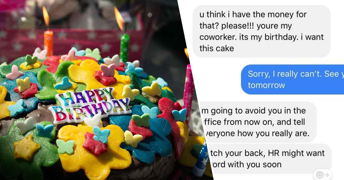 Co Worker Threatens Woman With HR When She Wont Bake Her Birthday Cake