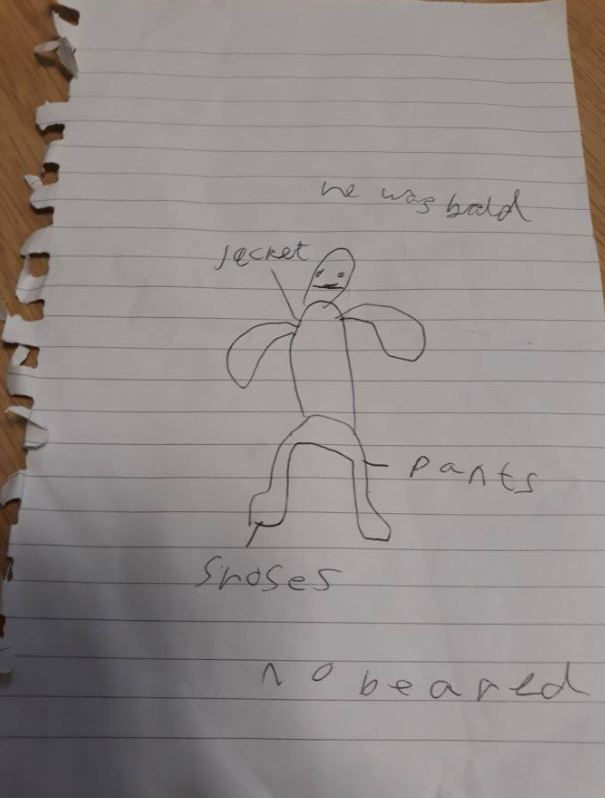 Ryan Cook draws picture of man