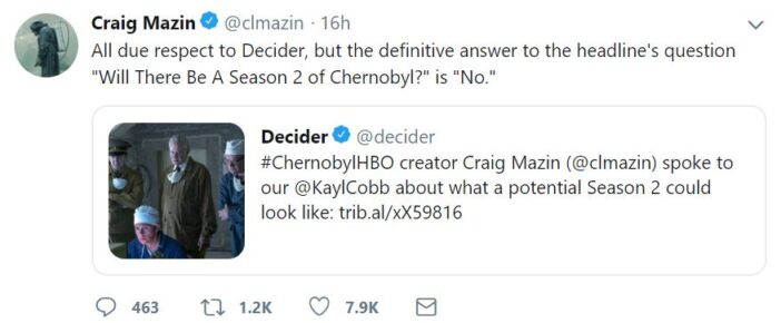 There won't be a Chernobyl season two.