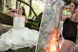 Woman burns wedding dress
