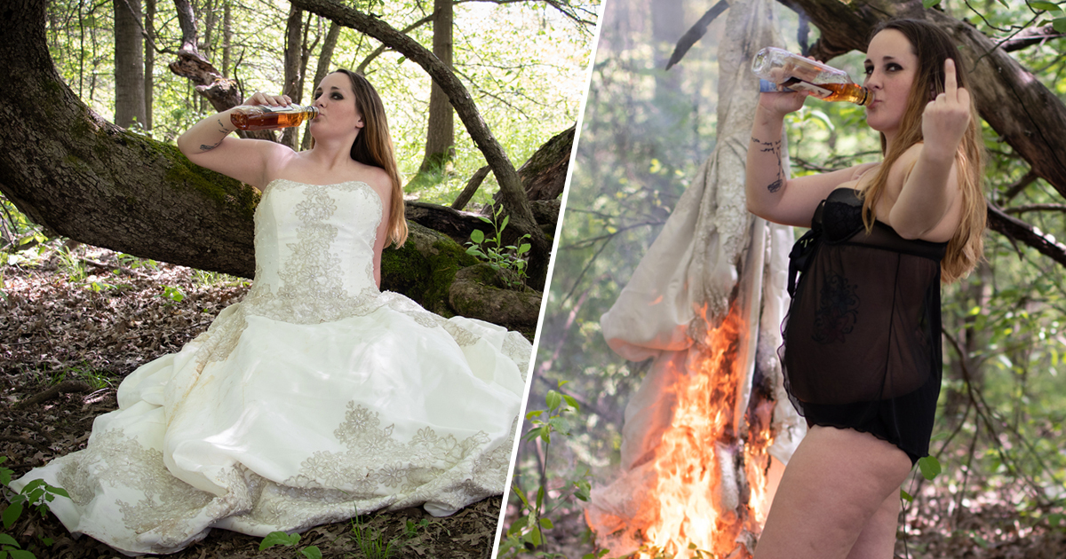 Woman's Burn The Dress Ceremony Goes Viral After Divorcing