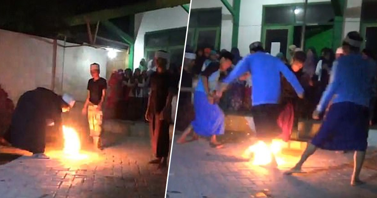Teens play fire football
