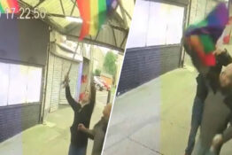 Vandals tear down lgbt flags