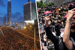 Hong Kong extradition bill protests crowds Hong Kong skyline