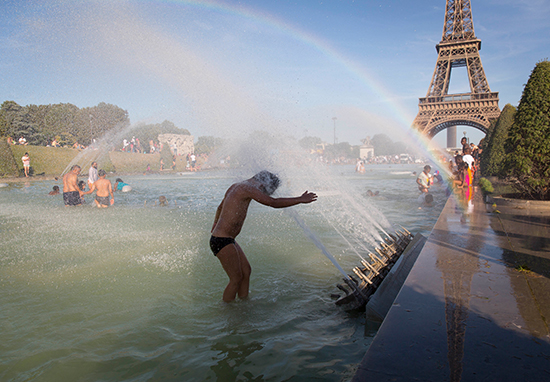 People bathe in pools in Paris