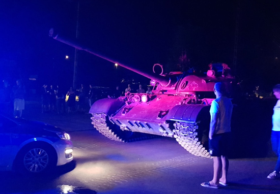 Drunk man in tank