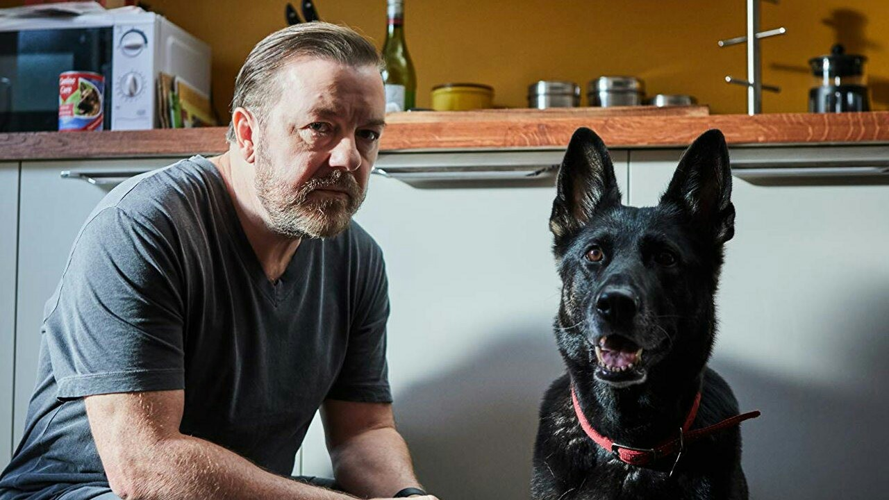 Ricky Gervais and dog after life