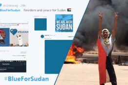 blue for sudan protest social media #blueforsudan
