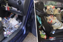 Car filled with rubbish