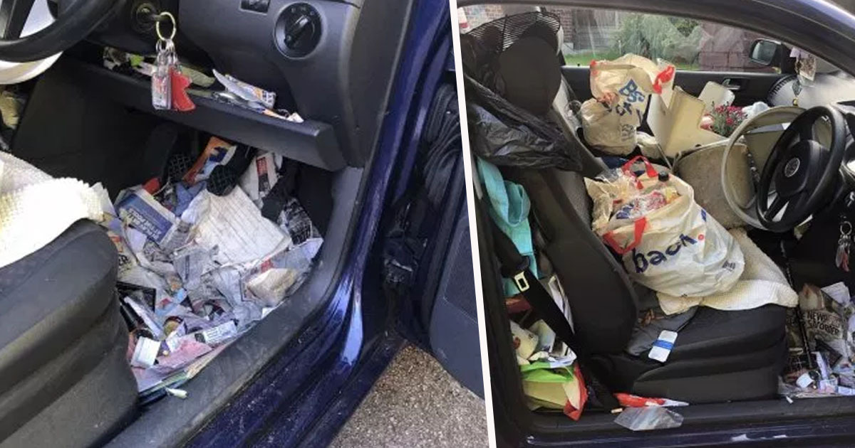 Driver Has So Much Rubbish In Car They Couldn't Get Handbrake On And Crashed