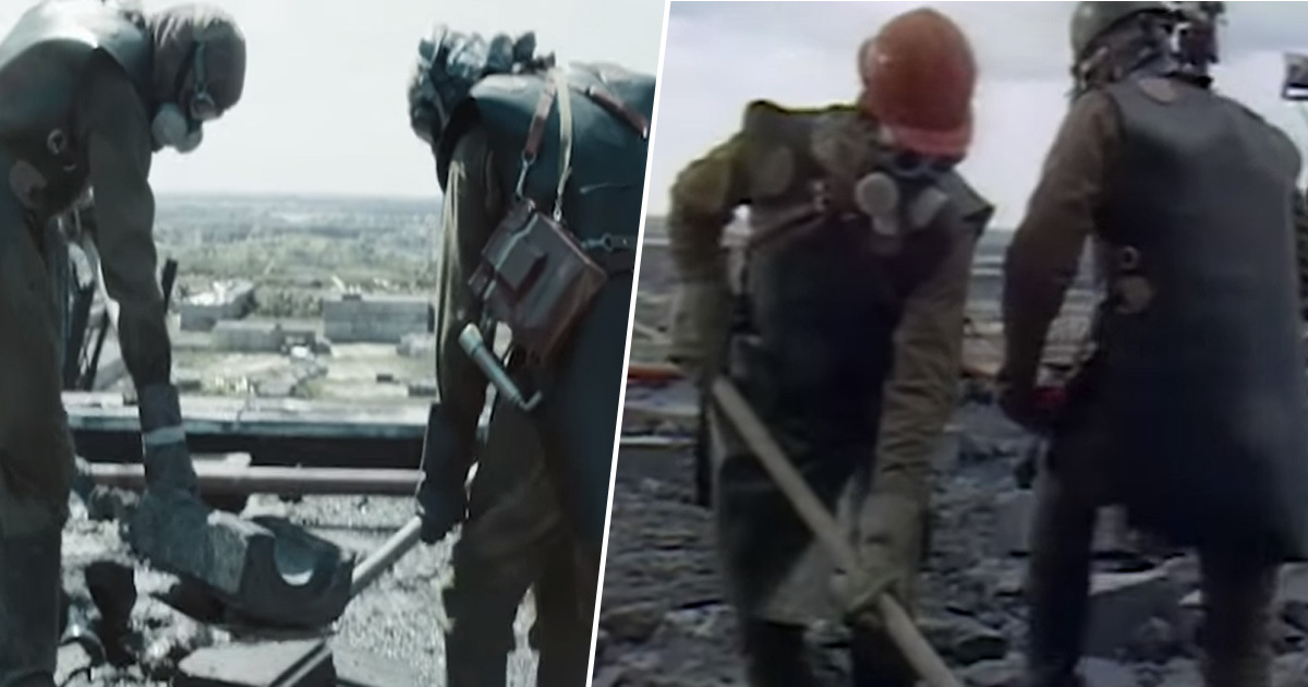 Side by side footage of Chernobyl with TV show
