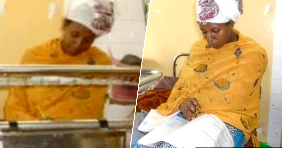 Woman sits exam after giving birth
