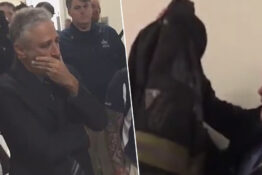 Jon Stewart gets emotional after being handed firefighter jacket