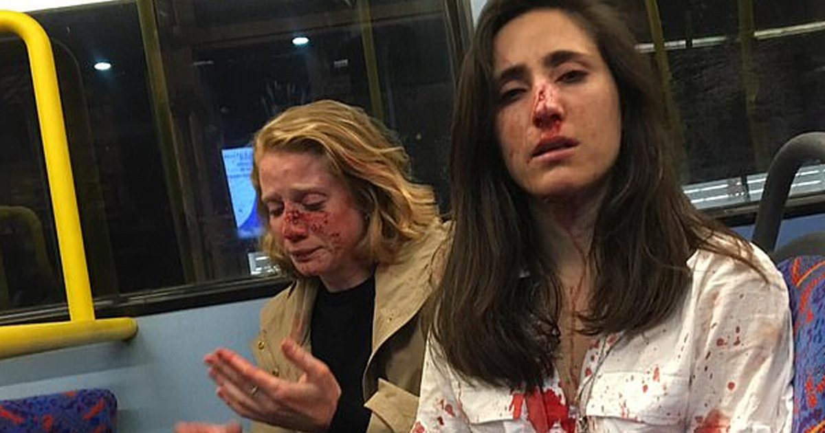 Lesbian couple attacked by gang.