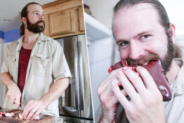 man eating raw meat