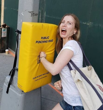 Punching bags put up as public art in Manhatten.