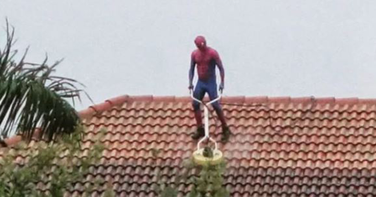 Spider-Man Spotted Pressure Washing Roof During Rainstorm In Florida