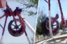 Swing ride breaks mid air
