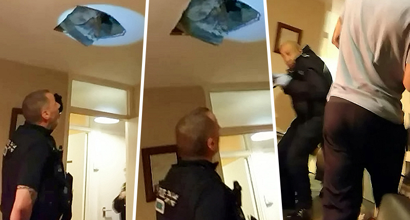 suspect falling through ceiling