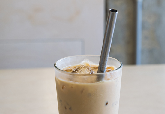 Metal straw in iced coffee