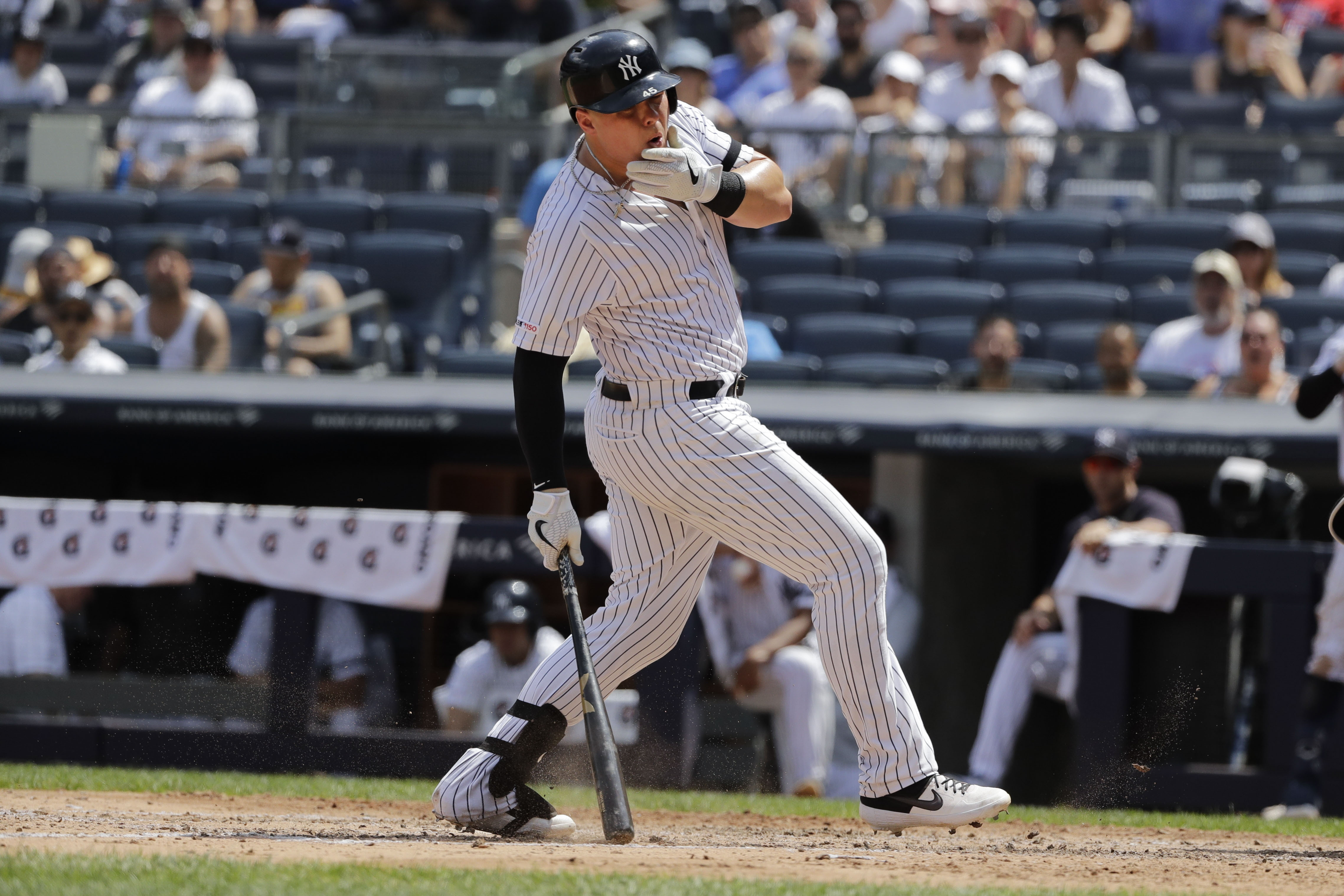 luke voit after being hit by a baseball playing for the Yankees