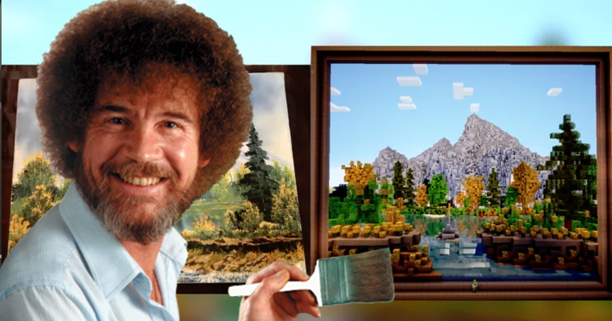 Hero Uses Minecraft To Recreate A Bob Ross Painting, With Brilliant Results