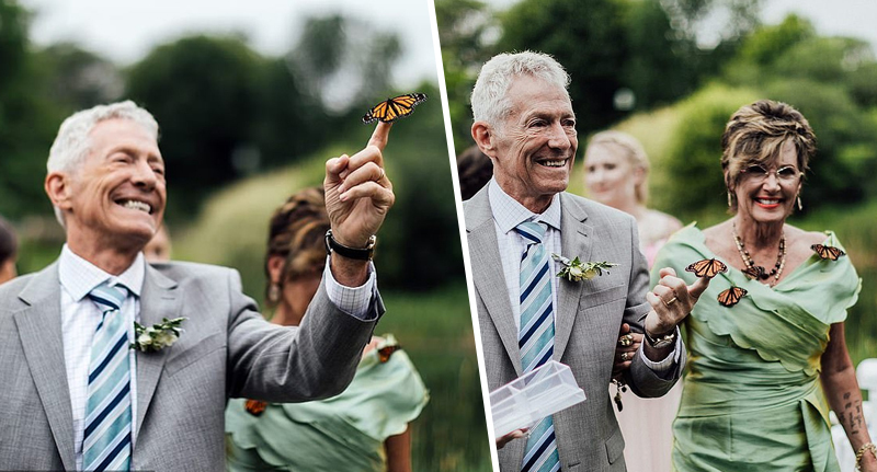 Butterfly Lands On Father's Finger During Moving Tribute To Late Daughter At Wedding