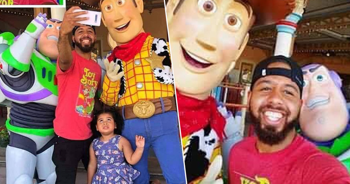 Dad Goes To Disney With Daughter, Hilariously Crops Her Out Of Selfies