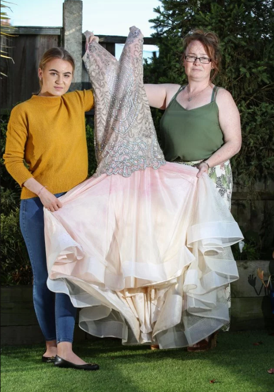 emilee and her mum tracy with ruined prom dress