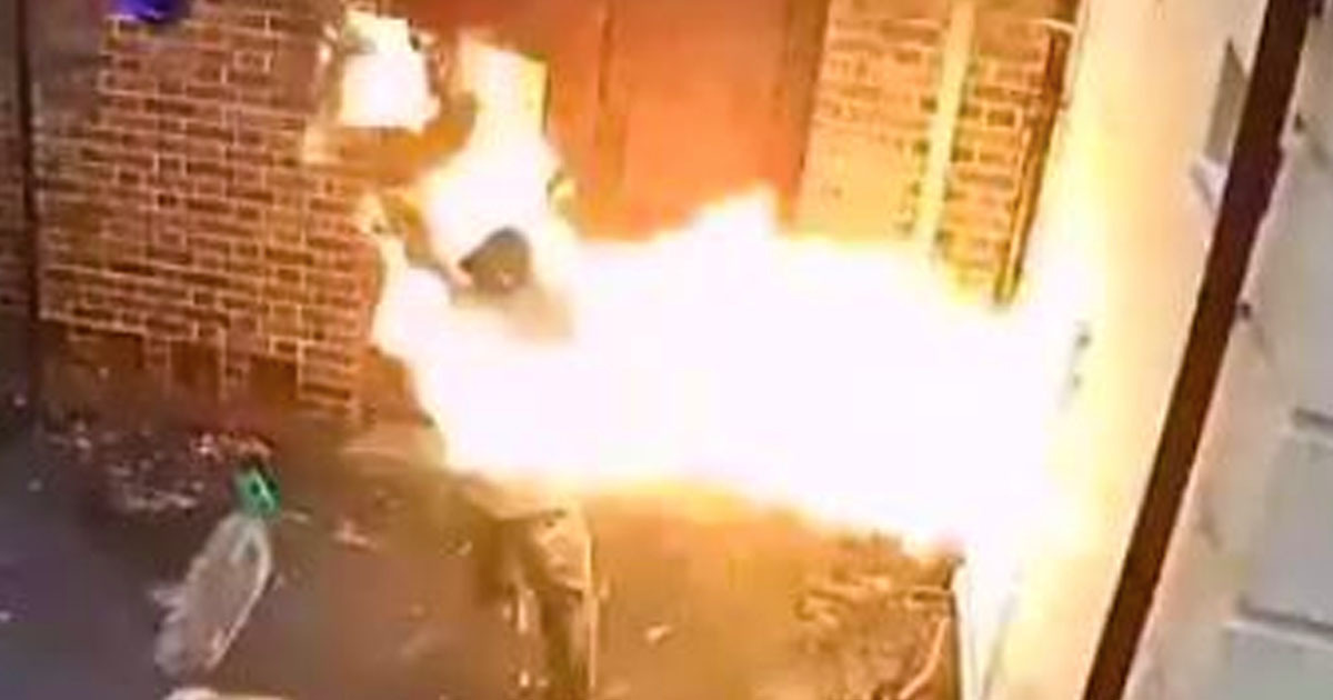 Man engulfed in flames after setting fire to synagogue