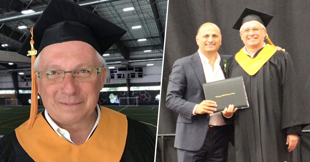 Dad graduates after being bullied out of high school