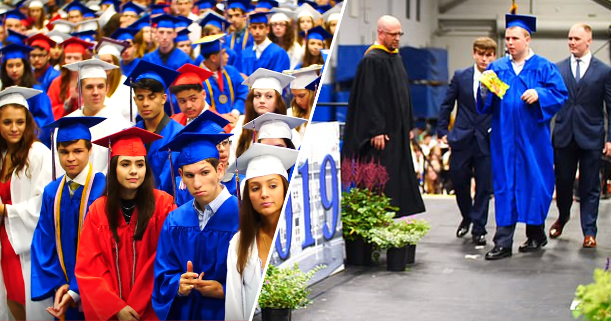 High School Students Give Severely Autistic Classmate Silent Standing Ovation As He Graduates