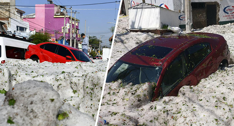 Hail storm in Mexico