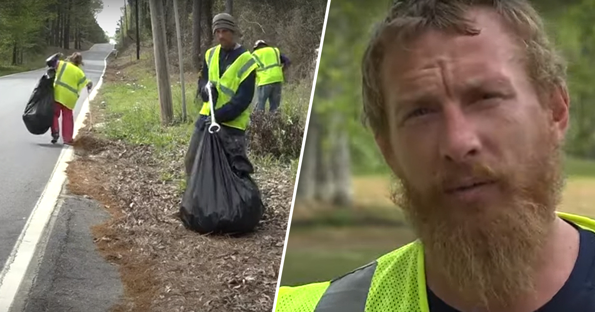 Homeless people paid to pick up litter