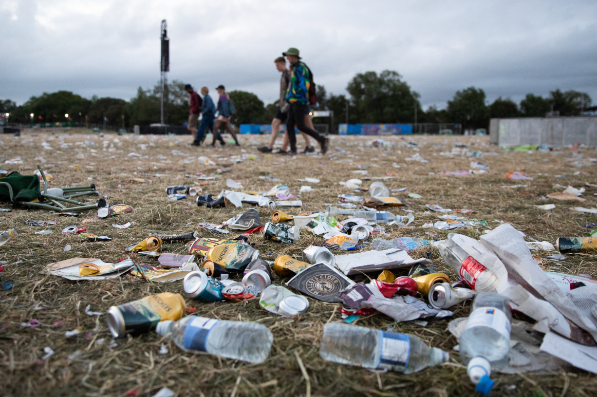 Plastic litter left behind at Glastonbury festival