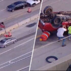 Good Samaritans Flip Overturned Truck On Busy Highway To Rescue Driver After Horrific Accident