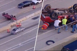 good samaritans help flip an overturned truck on the higway