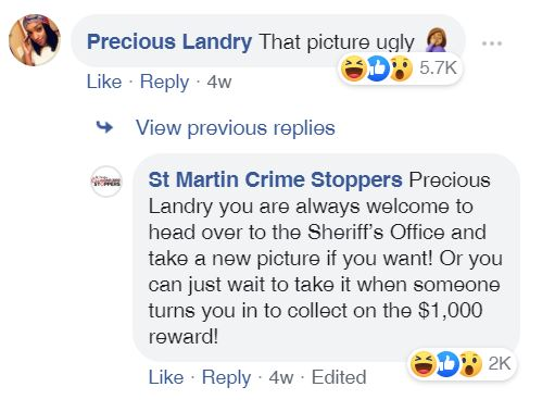 Wanted woman comments on 'ugly' mugshot