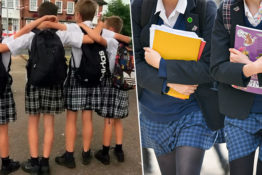 primary school pupils wearing skirts