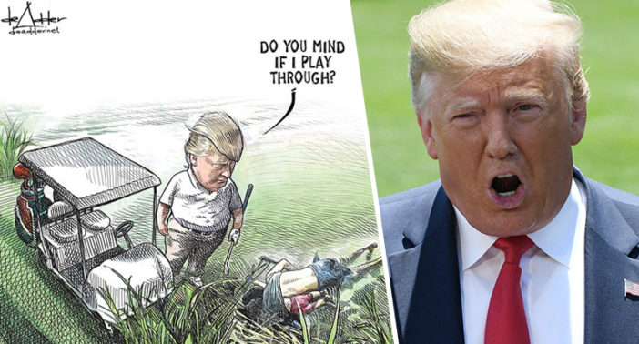 Canadian Artist Fired Over Cartoon Of Trump Golfing By Dead Bodies