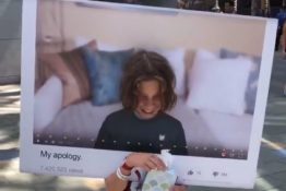 Kid dressed as youtube apology video