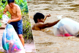 Children In Vietnam Village Ferried Across River In Plastic Bags Just To Go To School
