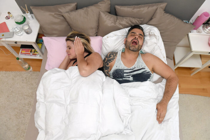 Snoring sleep TV show participants