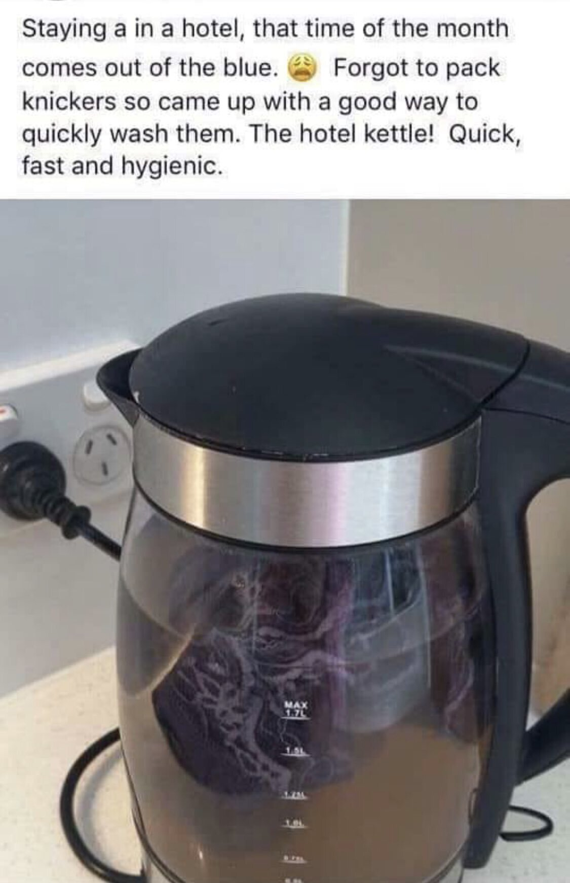 Pants in kettle after period