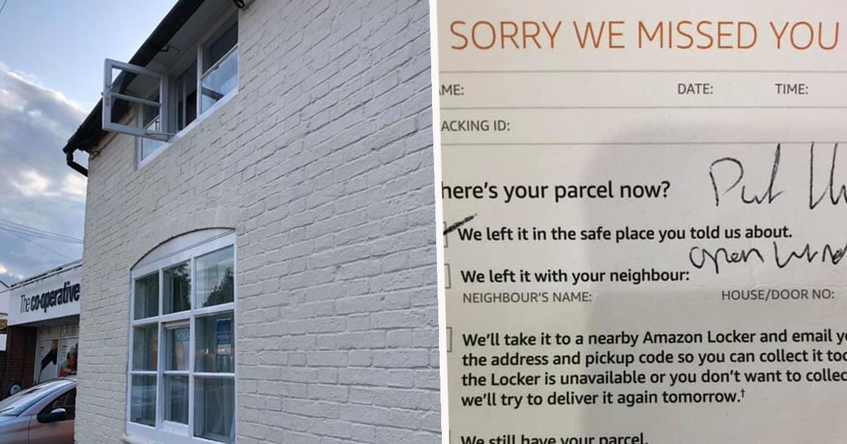 Customer finds amazon parcel thrown through upstairs window