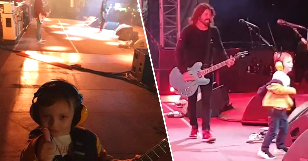 dave grohl and five-year-old fan onstage