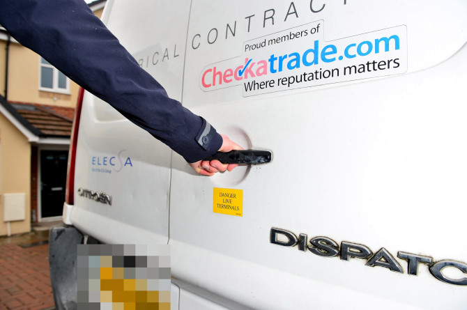 van fitted with electric shock alarm system