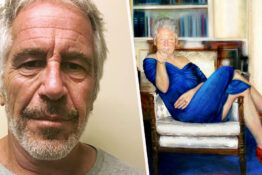jeffrey epstein/painting of bill clinton in blue dress