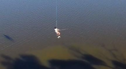 Guy fishing from drone